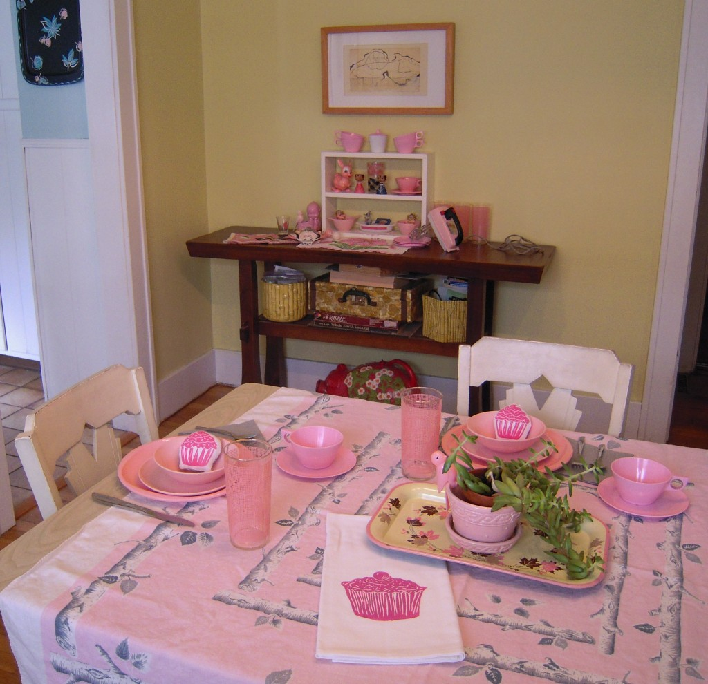 A pink table setting seems like a perfect excuse to invite one of your best gal pals over for tea and cupcakes! This tablecloth is from my own personal collection! And my artgoodies cupcake towel is right at home!
