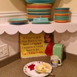 vintage fiestaware and a scallop shelf plus a fun sign